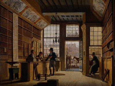 Buchhändler, Bankier und Barbier in einem. Für die wohlhabende Klasse war das im 18. und 19. Jahrhundert nicht ungewöhnlich. Gemälde: Johannes Jelgerhuis (1820)