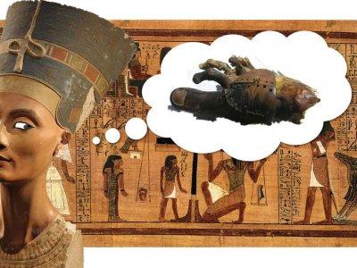 Für die alten Ägypter war der Gang in das Totenreich nur mit einem vollständigen Körper vorstellbar - im Notfall wurde deshalb mit Prothesen nachgeholfen. Collage mit Fotos von:  Philip Pikart, Door Jon Bodsworth und British Museum (Wikimedia Commons)