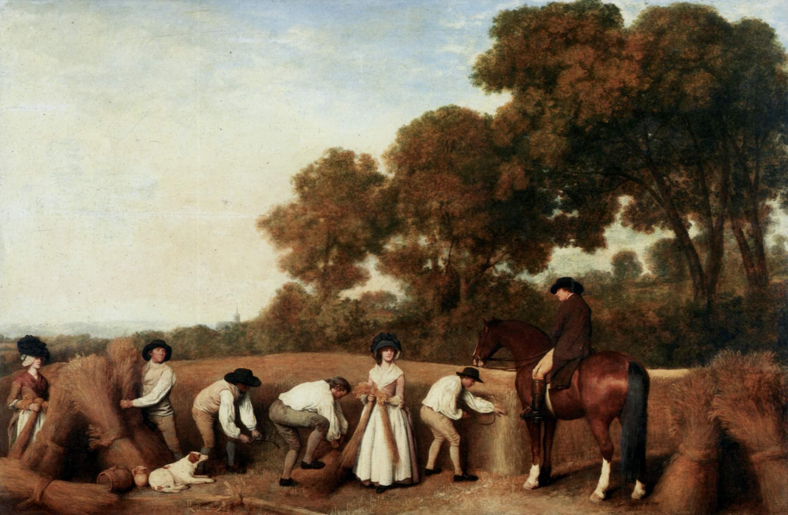 Bauern im Jahr 1785 bei der Kornernte auf dem Feld. Foto: The Yorck Project.