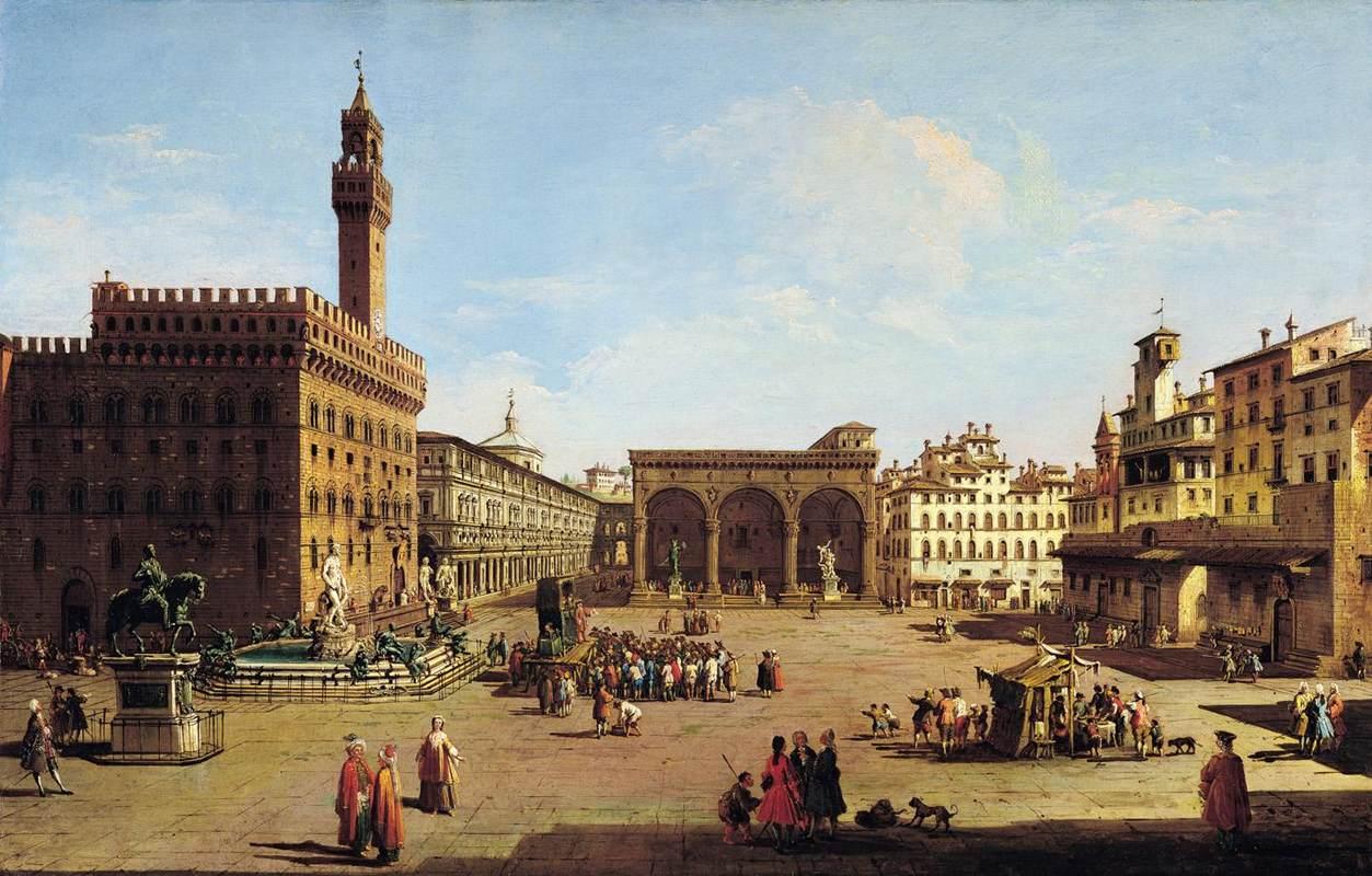 Das Gemälde von Giuseppe Zocchi zeigt die Piazza della Signoria in Florenz.
