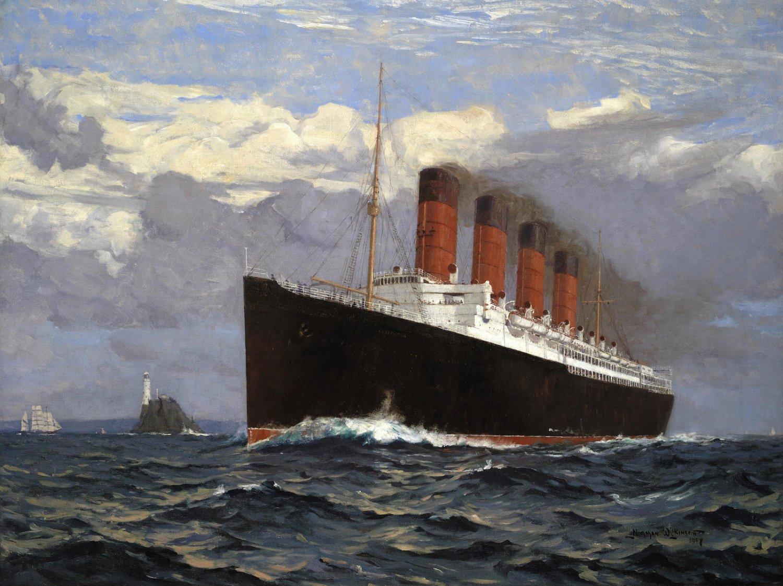 Der Cunard-Liner Lusitania auf seinem Weg nach New York, 1907. Gemälde von Norman Wilkinson.