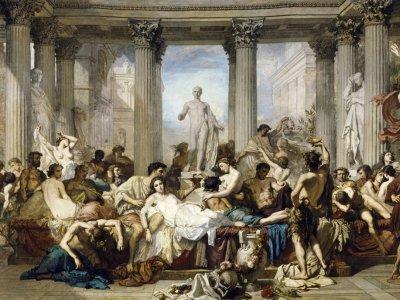 """Bei allen positiven Effekten, die ein Festival haben kann: Wenn es zum Alltag wird, kann darin eine Bedrohung für die Demokratie liegen. Gemälde: Thomas Couture,  """"Römer und ihre Dekadenz"""" (1847)"""