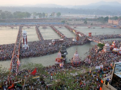Die Kumbh Mela gilt mit seinen 30 Millionen Besuchern als das größte religiöse Fest der Welt. Foto: Philipp Eyer