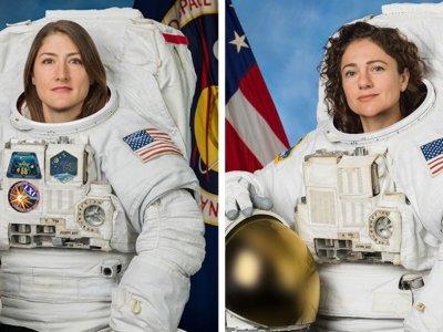 Die beiden Astronautinnen Christina Koch (links) und Jessica Meir (rechts)  nehmen als erstes rein weibliches Team EVAs an der Raumstation ISS vor.