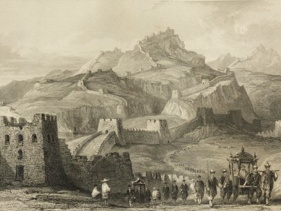 War die Chinesische Mauer eine Abgrenzung auch gegen äußere kulturelle Einflüsse? Bild:  Thomas Allom(1845)