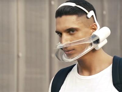 Werden Luftfilter-Masken in Zukunft zu unserem Alltagsleben gehören wie Schuhe oder unser Smartphone? Foto: Atmos Facewear / AO Air.