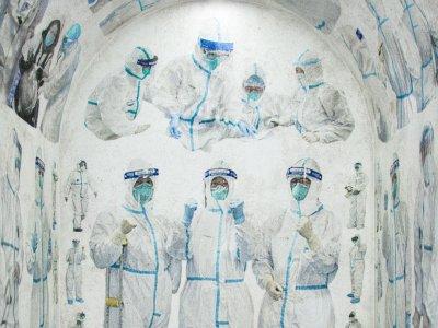 Der Künstler Duyi Han machte aus einer historischen Kapelle einen Ort der Würdigung für die Helfer*innen in der Coronavirus-Krise. Foto:  Duyi Han | doesn't come out