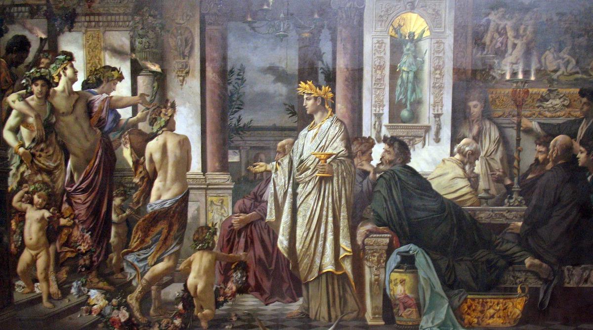Der entscheidende Punkt für Platon war, das Gelehrte nicht nur zu verstehen, sondern im Austausch untereinander wirklich zu verinnerlichen. Foto: Platons Gastmahl von Anselm Feuerbach, via Wikimedia Commons, gemeinfrei.