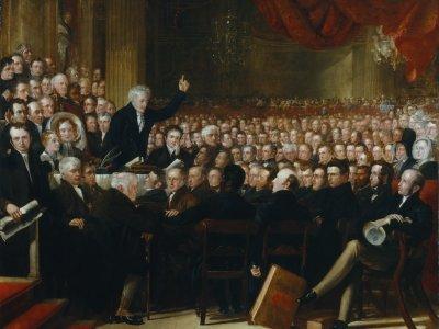 """1839 wurde die """"British and Foreign Anti-Slavery Society"""" gegründet, die sich als Gesellschaft zur Abschaffung des Sklavenhandels (Abolitionismus) verstand. Foto: The Anti-Slavery Society Convention von Benjamin Haydon, via Wikimedia Commons, gemeinfrei."""