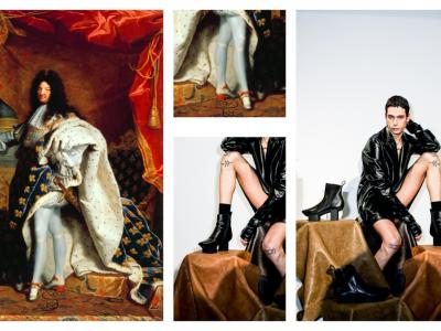 Ursprünglich waren Absatzschuhe eine Männerangelegenheit, heute werden sie von Frauen getragen – und in Zukunft dann von allen? Foto: Collage aus (v.l.) Gemälde von Louis XIV via Wiki Commons, gemeinfrei (links und Mitte oben) und Presse-Foto von Trippen Berlin  (Mitte unten und rechts).