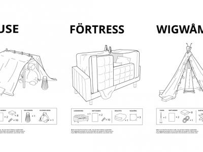 Kissenburgbau für gelangweilte Kinder daheim? Eigentlich ein alter Hut, aber IKEA Russland machte daraus eine Marketingkampagne. Bild Collage): IKEA Russland / Instinct