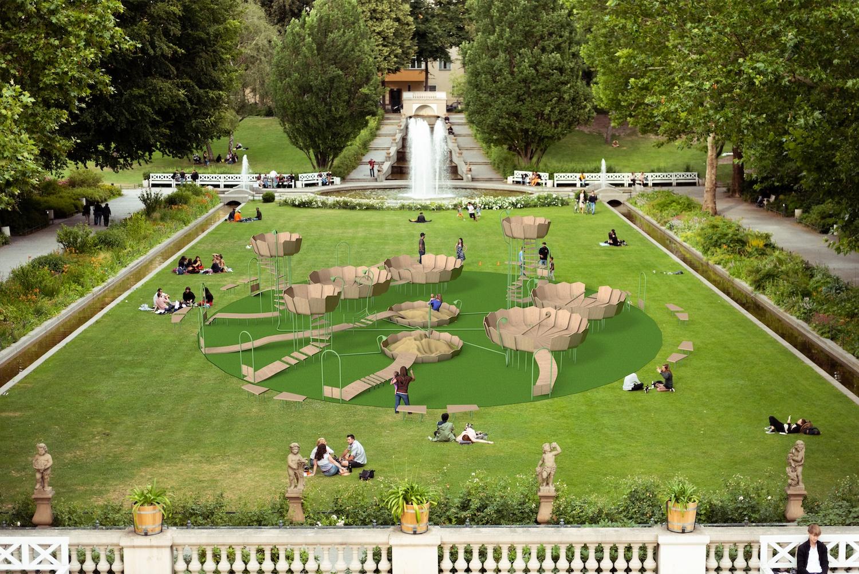 Ein durch Krisen wie Corona veränderte Welt braucht ein neues Konzept für Kinderspielplätze. So könnte es in Zukunft aussehen. Bild: