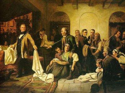Bild: Die schlesischen Weber (Gemälde Carl Wilhelm Hübner, 1846) vin Machahn via Wikimedia Commons, gemeinfrei.