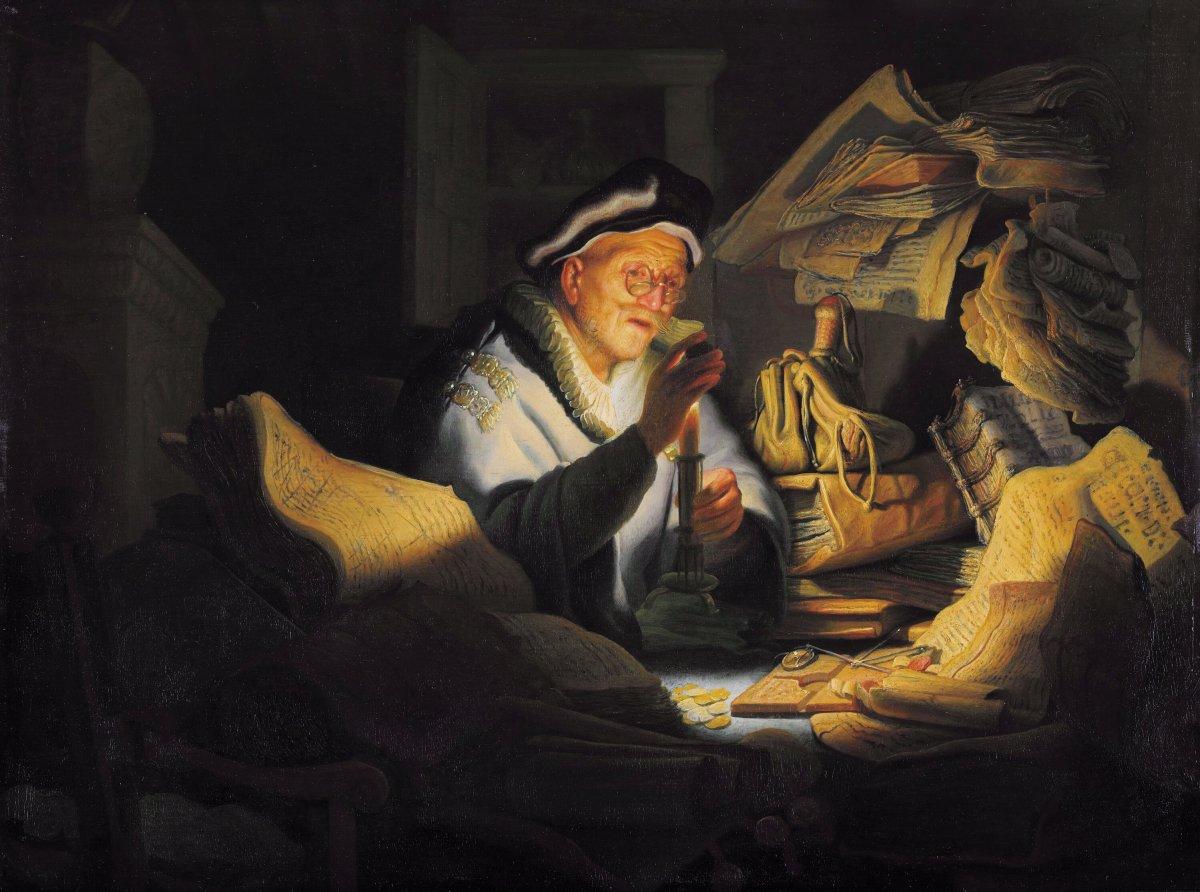 """Bild: """"Der Geldwechsler"""" von Rembrandt van Rijn, 1627."""
